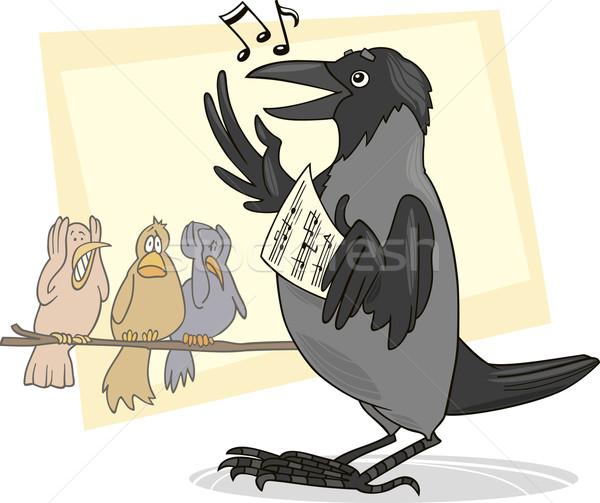şarkı söyleme karga örnek kuş tüy çizim Stok fotoğraf © izakowski