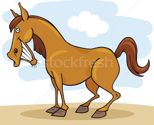 Boerderijdieren paard cartoon illustratie grappig glimlach Stockfoto © izakowski