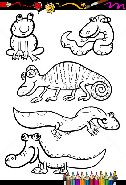 cartoon animals set for coloring book Stock photo © izakowski