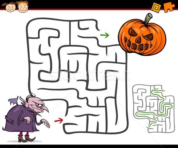 Cartoon labirynt labirynt gry ilustracja edukacji Zdjęcia stock © izakowski