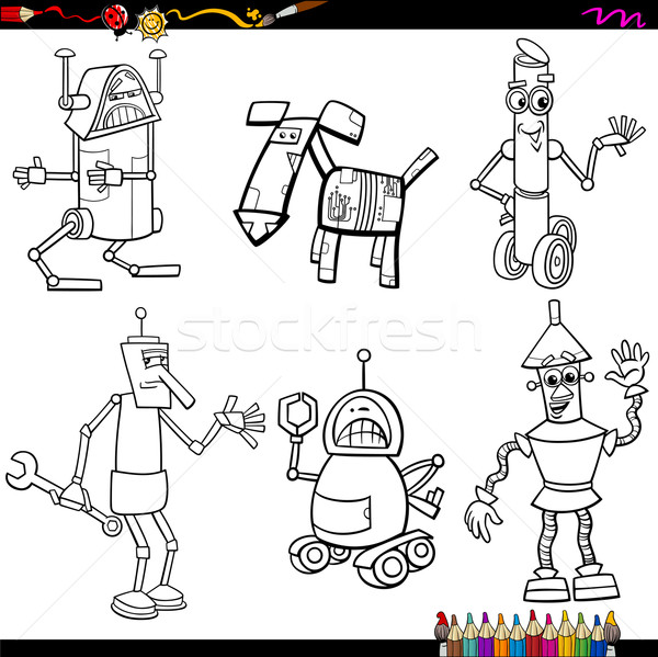 fantasy robots cartoons coloring page Stock photo © izakowski