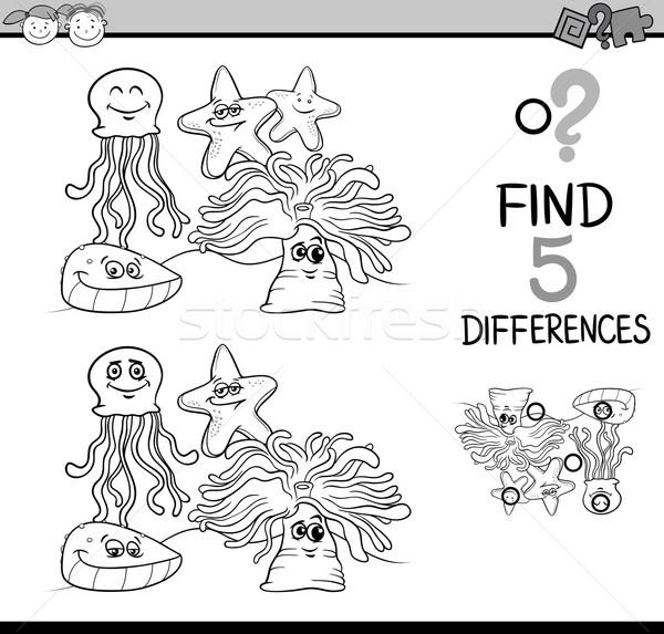 Jogo diferenças livro para colorir preto e branco desenho animado ilustração Foto stock © izakowski