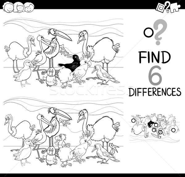 Compito differenze pagina bianco nero cartoon illustrazione Foto d'archivio © izakowski