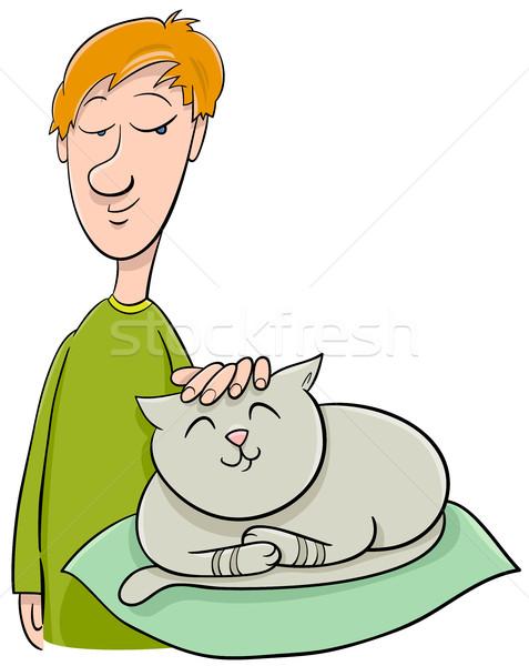 boy strokes cat cartoon Stock photo © izakowski