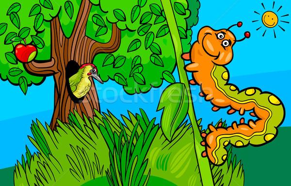 Rups insect cartoon illustratie grappig Stockfoto © izakowski