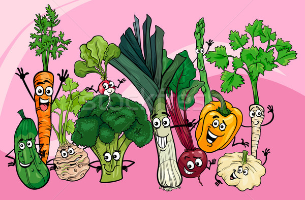 vegetables group cartoon illustration Stock photo © izakowski