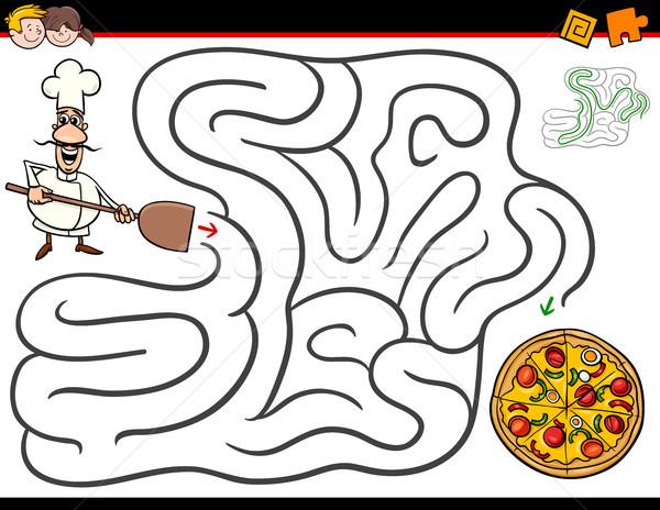 Rajz labirintus tevékenység szakács pizza illusztráció Stock fotó © izakowski