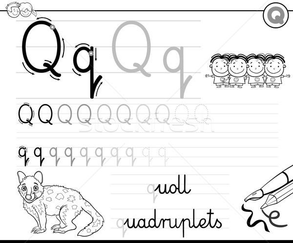 学ぶ 書く 文字q ワークブック 子供 黒白 ストックフォト © izakowski