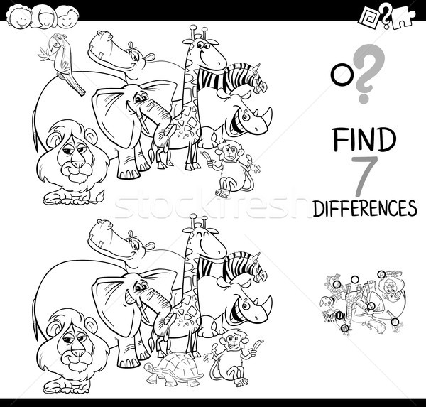 Stock photo: differences game with safari animals coloring book
