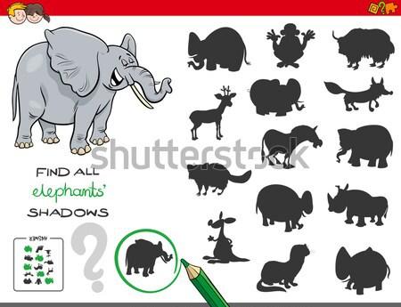 Schaduw spel olifanten kleur boek zwart wit Stockfoto © izakowski