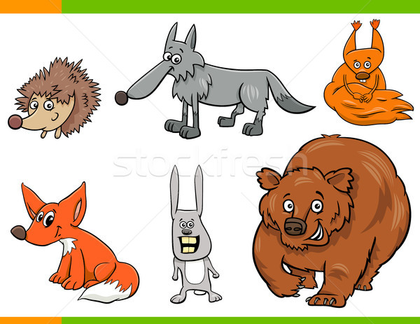 wild animal cartoon characters set Stock photo © izakowski