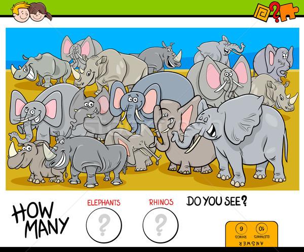 counting elephants and rhinos game for kids Stock photo © izakowski