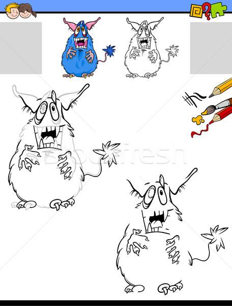 Zeichnung Monster Karikatur Illustration pädagogisch Aktivität Stock foto © izakowski