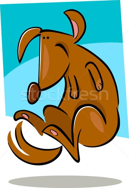 Cartoon болван счастливым собака иллюстрация коричневая собака Сток-фото © izakowski