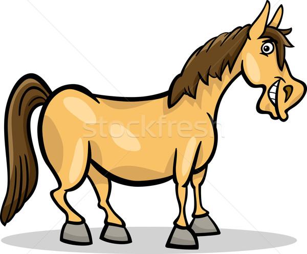 Stockfoto: Paard · cartoon · illustratie · grappig · boerderij