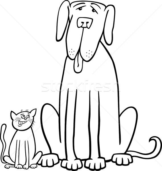 Kedi Köpek Karikatür Boyama Kitabı Siyah Beyaz örnek
