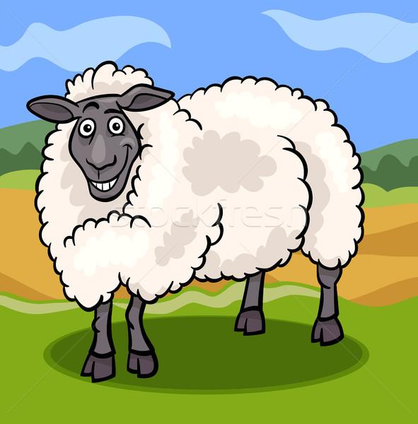 sheep farm animal cartoon illustration Stock photo © izakowski