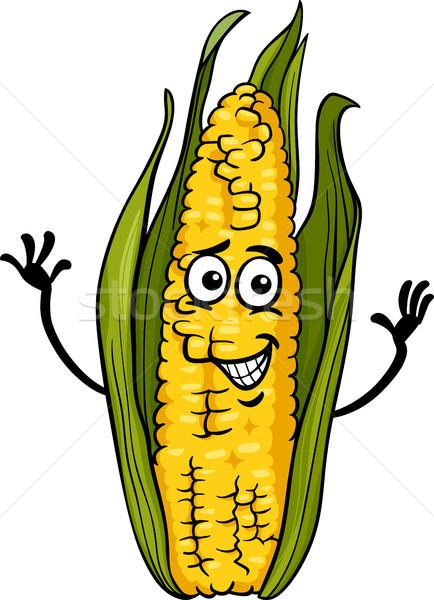 funny corn on the cob cartoon illustration Stock photo © izakowski