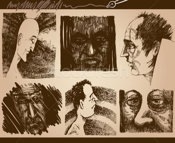 Pessoas faces esboço desenhos conjunto desenho animado Foto stock © izakowski