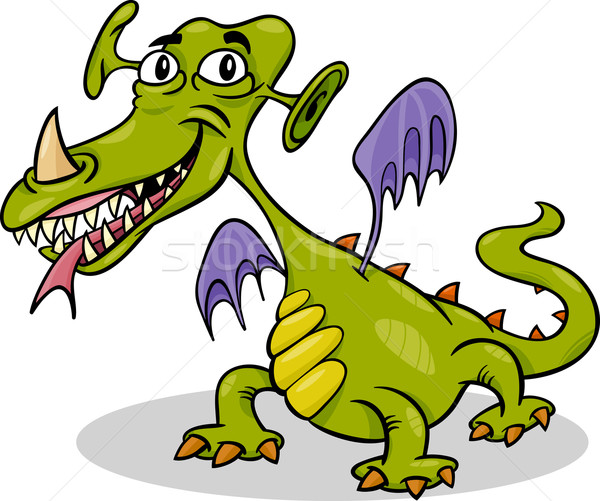 Cartoon grappig monster draak illustratie schrik Stockfoto © izakowski