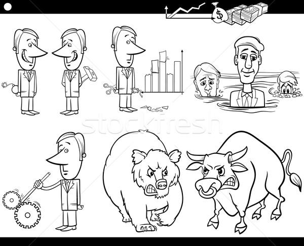 business cartoon concepts and ideas set Stock photo © izakowski