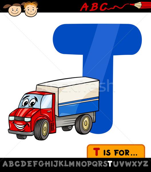 letter t with truck cartoon illustration Stock photo © izakowski