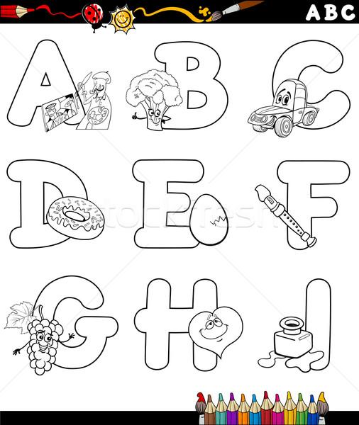 Karikatür Alfabe Boyama Kitabı Siyah Beyaz örnek