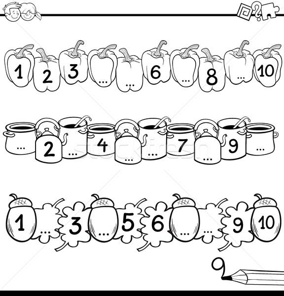 Matematica educativo compito bianco nero cartoon illustrazione Foto d'archivio © izakowski