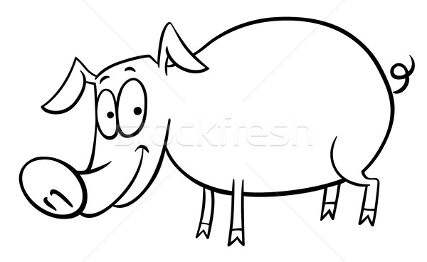cartoon pig coloring page vector illustration © Igor ...