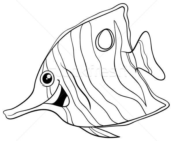 Egzotik Balık Boyama Kitabı Siyah Beyaz Karikatür