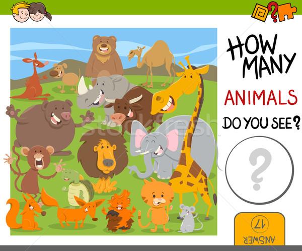 count animals game for kids Stock photo © izakowski