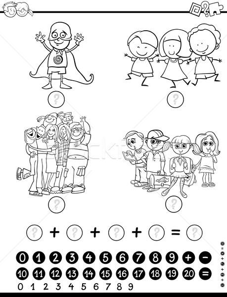 Matematica attività bianco nero cartoon illustrazione educativo Foto d'archivio © izakowski