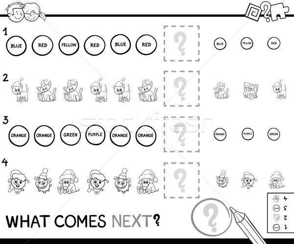 образовательный шаблон игры страница черно белые Cartoon Сток-фото © izakowski