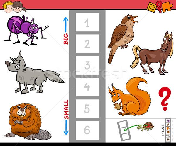 big and small animals cartoon activity game Stock photo © izakowski