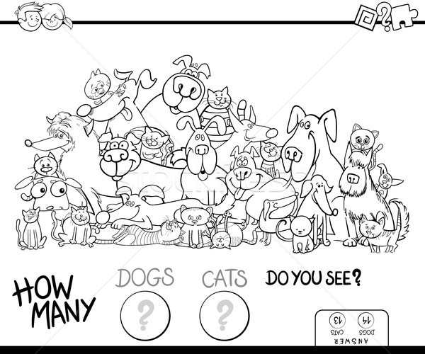 how many cats and dogs game color book Stock photo © izakowski