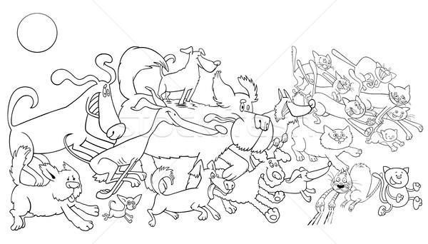 cartoon running dog and cats color book Stock photo © izakowski