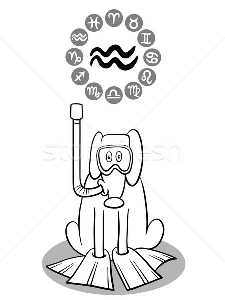 cartoon dog as Aquarius Zodiac sign Stock photo © izakowski