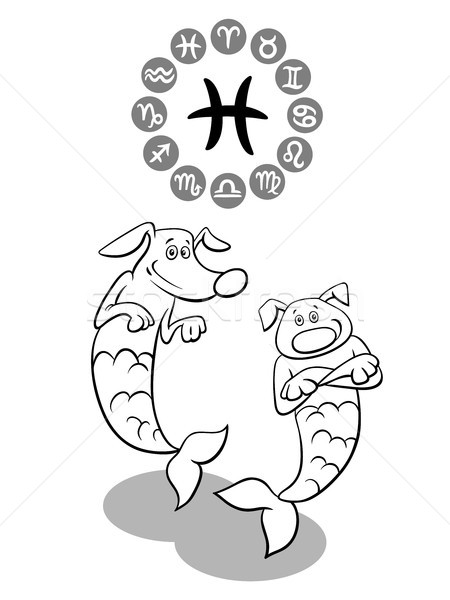 cartoon dog as Pisces Zodiac sign Stock photo © izakowski