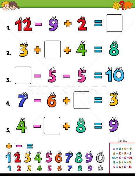 Wiskunde berekening onderwijs spel kinderen cartoon Stockfoto © izakowski