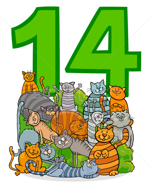 number fourteen and cartoon cats group Stock photo © izakowski