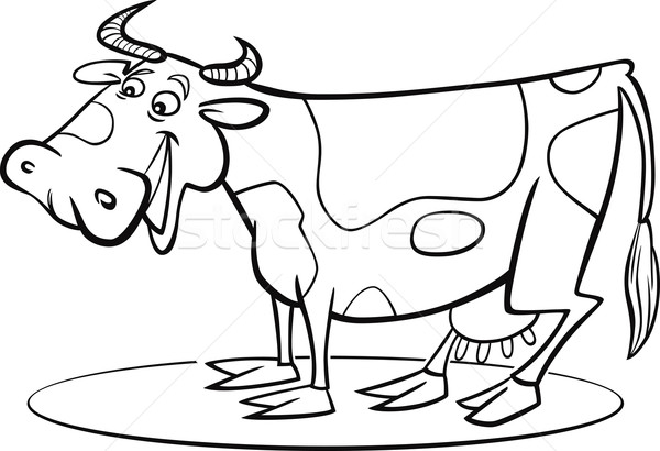 Cartoon cow coloring page Stock photo © izakowski