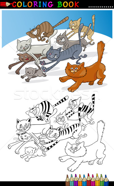 Running Cats for Coloring Book or Page Stock photo © izakowski