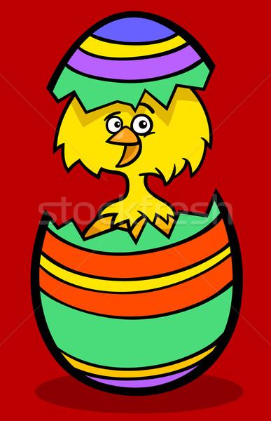 chick in easter egg cartoon illustration Stock photo © izakowski