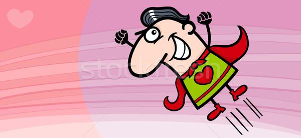 superhero valentine card cartoon Stock photo © izakowski