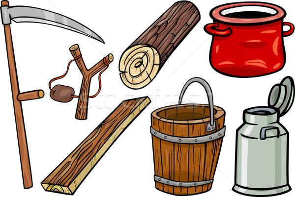 country objects cartoon illustration set Stock photo © izakowski