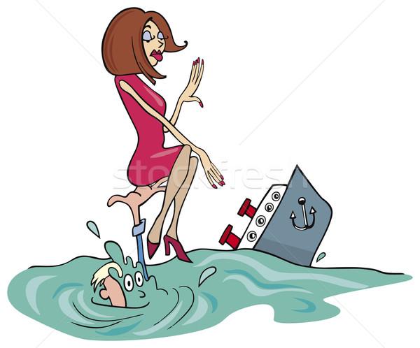 Pár óceán illusztráció lány hajó rajz Stock fotó © izakowski