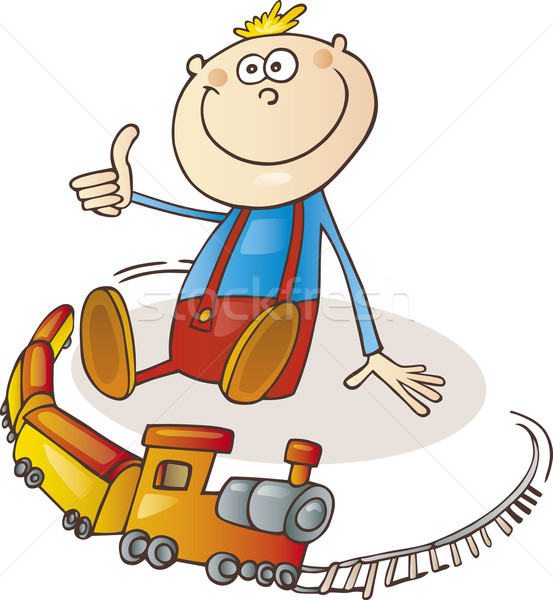 Fiú vonat szett illusztráció kicsi boldog Stock fotó © izakowski