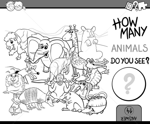 count animals coloring book Stock photo © izakowski
