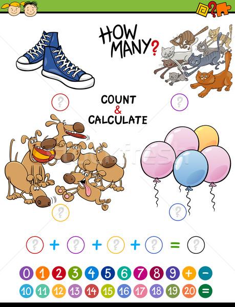 Matemáticas educativo actividad ninos Cartoon ilustración Foto stock © izakowski