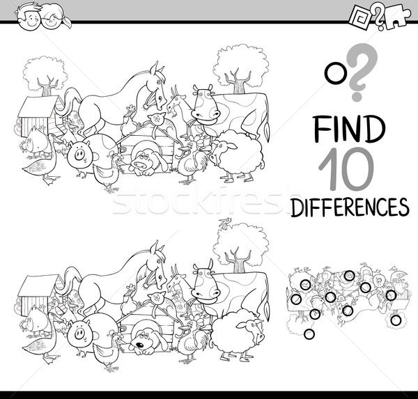 различия деятельность книжка-раскраска черно белые Cartoon иллюстрация Сток-фото © izakowski